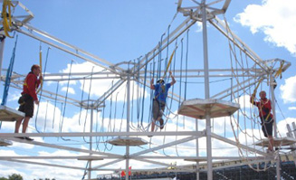 A mobile ropes course is just one of the many activities available in Lorne.