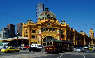Take a tram in Melbourne to explore the city.