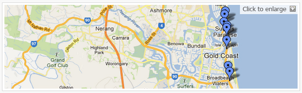 3 bedroom apartments Gold Coast Map