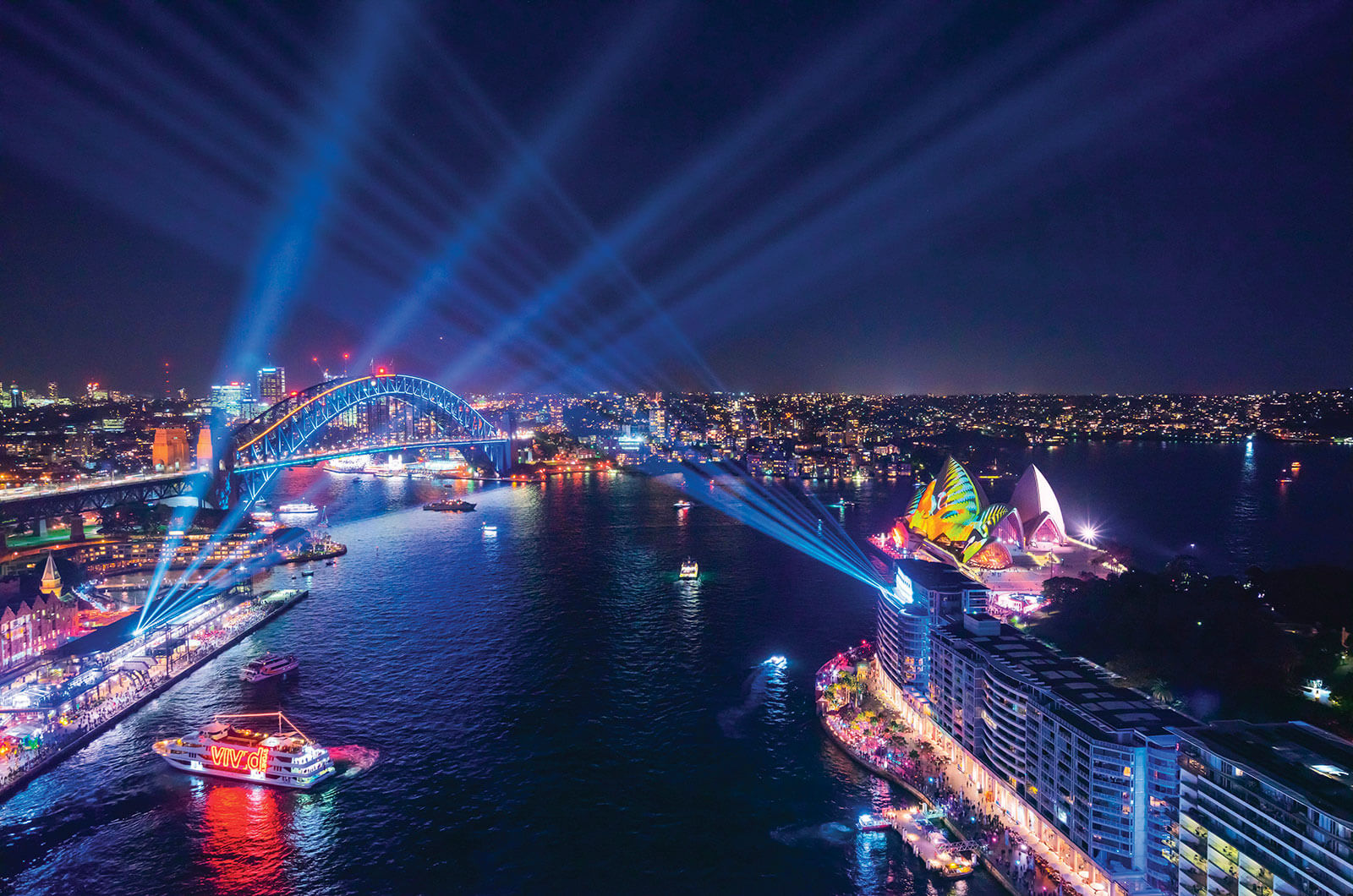 Bright city  lights during Vivid Sydney