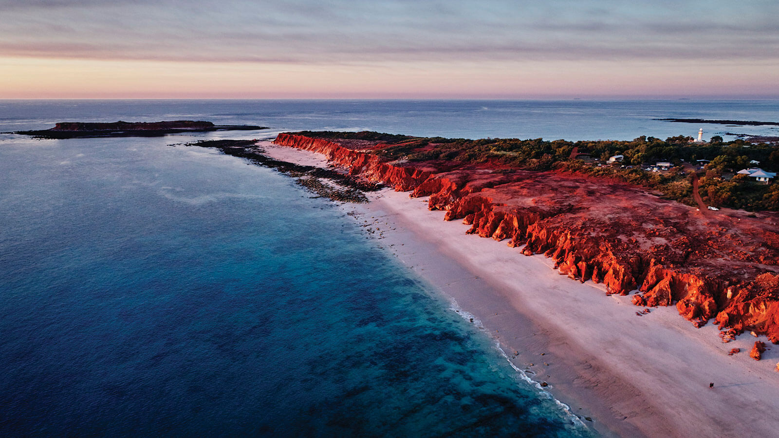 Aerial view of Western Beach, Kooljaman at Cape Leveque